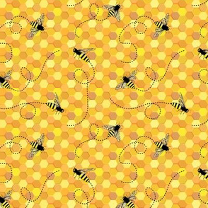 Bees on Honeycomb ~ Yellow
