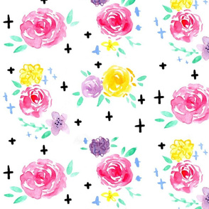 Pastel Watercolor Floral LARGE // flowers, roses, pink, lavender, yellow, mint, cross, romantic, girly