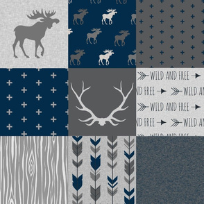 Moose Quilt - Stone Canyon -Dark Sapphire- Navy and dark Grey