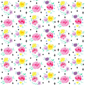 Pastel Watercolor Floral SMALL // flowers, roses, pink, lavender, yellow, mint, cross, romantic, girly