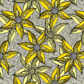 Love Blooms in Sunshine (# 4) - Black on Silver Mist Linen Texture with Daffodil Yellow and Buttery Yellow - Medium Scale
