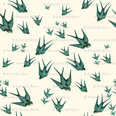 Descending Swallows in Aqua and Pale Cream