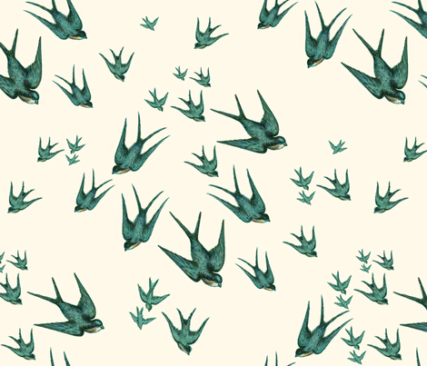 Descending Swallows in Aqua and Pale Cream  fabric by bluehoursatelier on Spoonflower - custom fabric