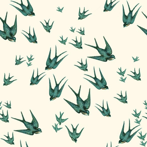Descending Swallows in Aqua and Pale Cream