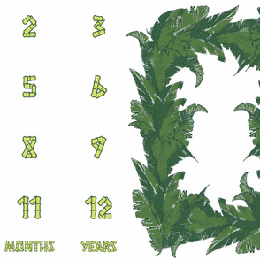 "Tropical Banana Leaf Milestone Memory Blanket in Bamboo Green (52""+ Fabrics Only)"