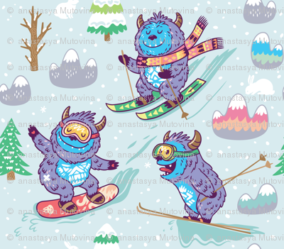 Skiing yeti