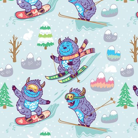 Skiing yeti  fabric by penguinhouse on Spoonflower - custom fabric