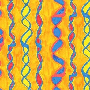 Blue/Yellow/Red Streamer on Gold/Orange Background