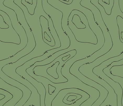 Contours green fabric by ruthmaddockmakes on Spoonflower - custom fabric