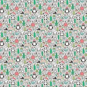 Christmas Holidays Animals Doodle with Panda, Deer, Bear, Penguin and Trees on White Tiny Small
