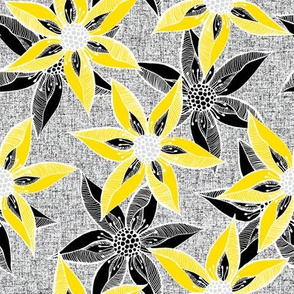 Love Blooms in Sunshine (# 5) - Silver Mist on Icy Cream Linen Texture with Daffodil Yellow and Black