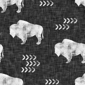 distressed buffalo on dark grey linen