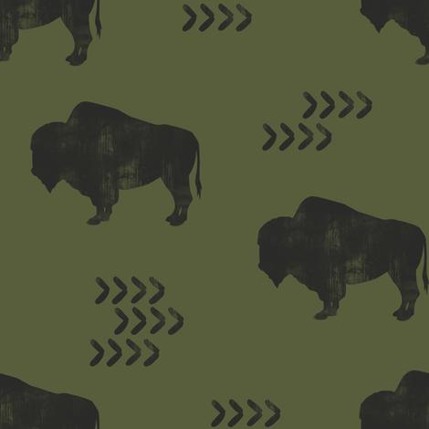 distress buffalo - GN fabric by littlearrowdesign on Spoonflower - custom fabric