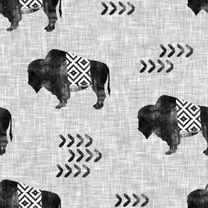 buffalo aztec distress on light grey linen