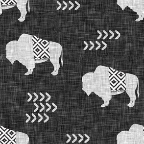 buffalo aztec on dark grey linen