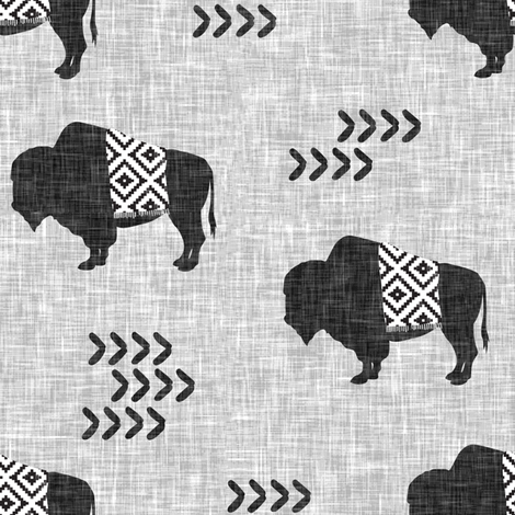 buffalo aztec on light grey linen fabric by littlearrowdesign on Spoonflower - custom fabric