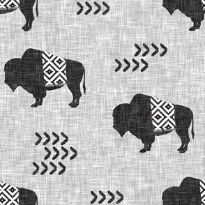 buffalo aztec on light grey linen