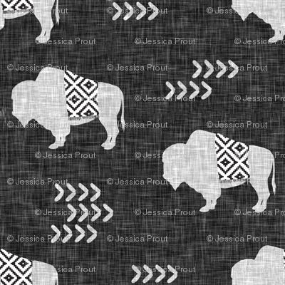 (small scale) buffalo aztec on dark grey linen