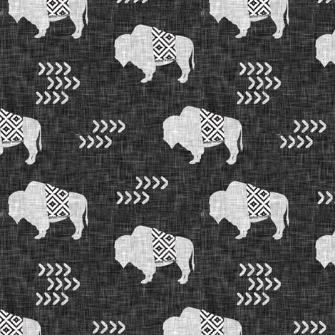 (small scale) buffalo aztec on dark grey linen fabric by littlearrowdesign on Spoonflower - custom fabric