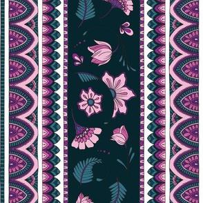 Bohemian Mandalas and Flowers - Teal and Peony