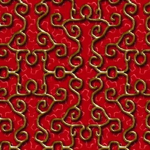 Faux Gold Iron Fence on Red