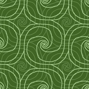 Green Overlapping Spirals
