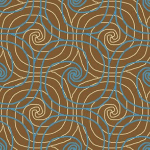 Cocoa and Turquoise Overlapping Spirals