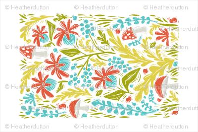 Botanical Forest Block Print Tea Towel