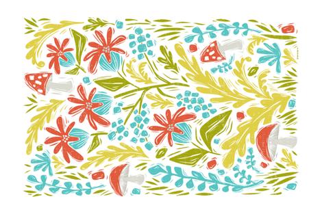 Botanical Forest Block Print Tea Towel fabric by heatherdutton on Spoonflower - custom fabric