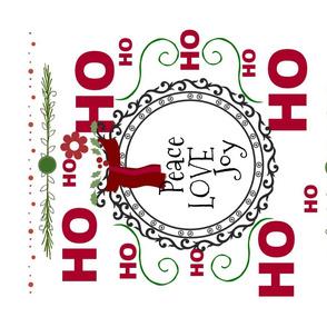 Ho Ho Peace Love Joy 42 -tea towel