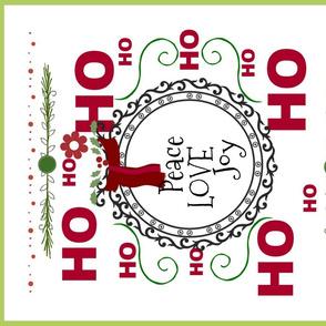 Ho Ho Peace Love Joy 42-tea towel border