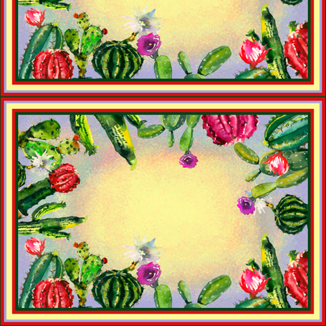 CACTUS RECTANGULAR LABELS TILES fabric by floweryhat on Spoonflower - custom fabric