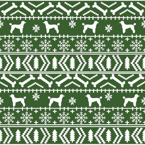 Poodle fair isle christmas dog silhouette fabric med green