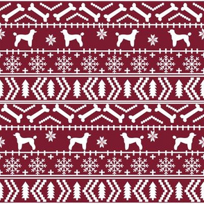Poodle fair isle christmas dog silhouette fabric ruby