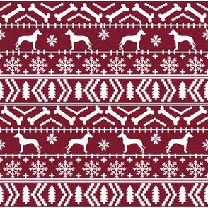 Great Dane fair isle christmas dog silhouette fabric ruby