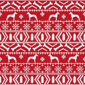 Great Dane fair isle christmas dog silhouette fabric red