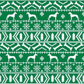 Great Dane fair isle christmas dog silhouette fabric green