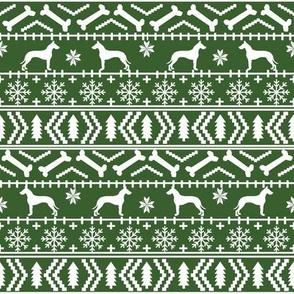Great Dane fair isle christmas dog silhouette fabric med green