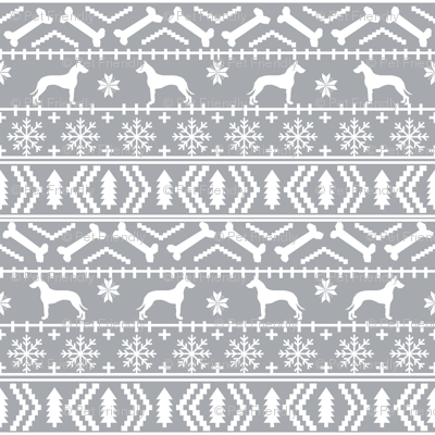 Great Dane fair isle christmas dog silhouette fabric grey