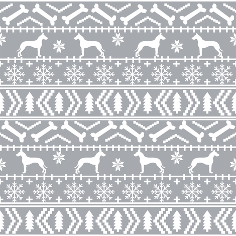 Great Dane fair isle christmas dog silhouette fabric grey fabric by petfriendly on Spoonflower - custom fabric