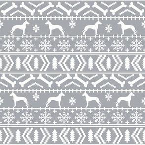 Great Dane fair isle christmas dog silhouette fabric grey