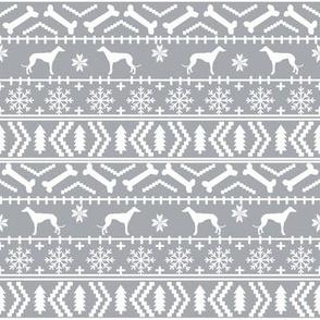 Greyhound fair isle christmas dog silhouette fabric grey