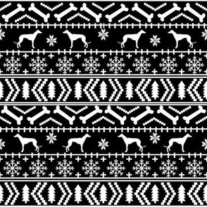 Greyhound fair isle christmas dog silhouette fabric black and white