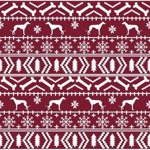 Greyhound fair isle christmas dog silhouette fabric ruby