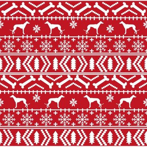 Greyhound fair isle christmas dog silhouette fabric red