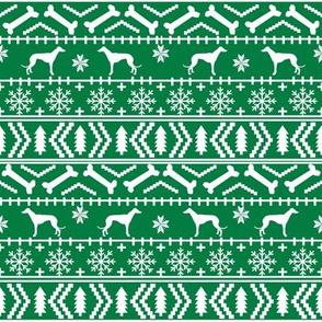 Greyhound fair isle christmas dog silhouette fabric green