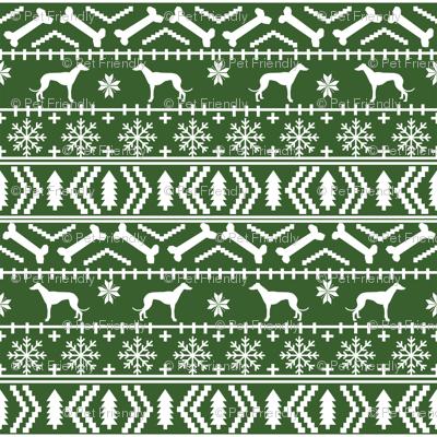 Greyhound fair isle christmas dog silhouette fabric med green