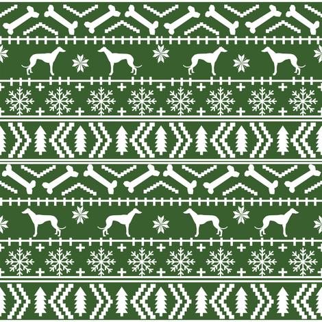 Greyhound fair isle christmas dog silhouette fabric med green fabric by petfriendly on Spoonflower - custom fabric
