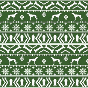 Greyhound fair isle christmas dog silhouette fabric med green