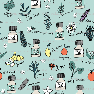 essential oils fabric // botanical essential oils design nature herbal medicine design - mint and orange